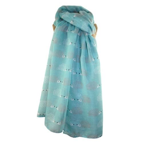 Lua Designs Hedgehog Print Scarf in Duckegg Blue